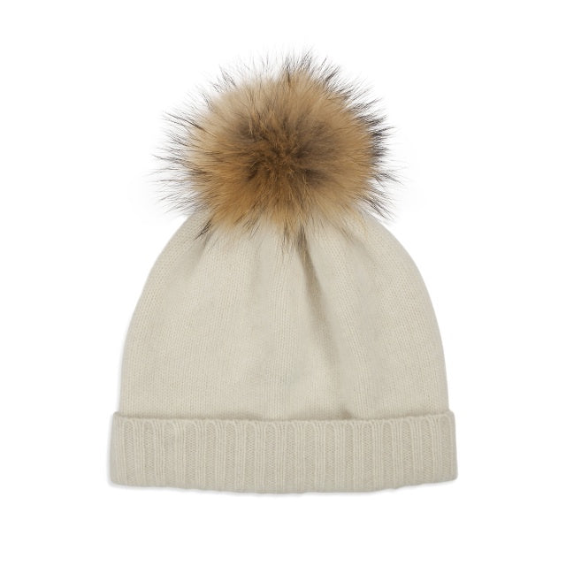 Cashmere Plain Knit Pom Hat- Cream