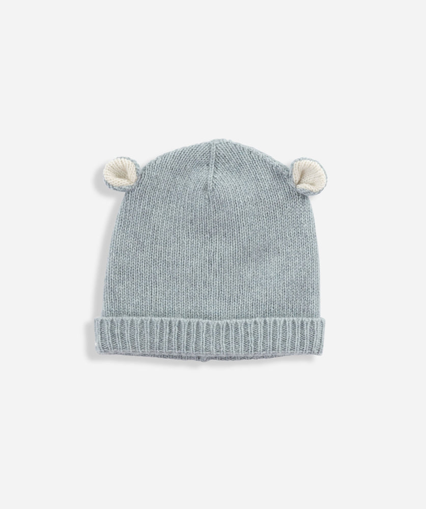 Cashmere Bear Hat - Duck Egg