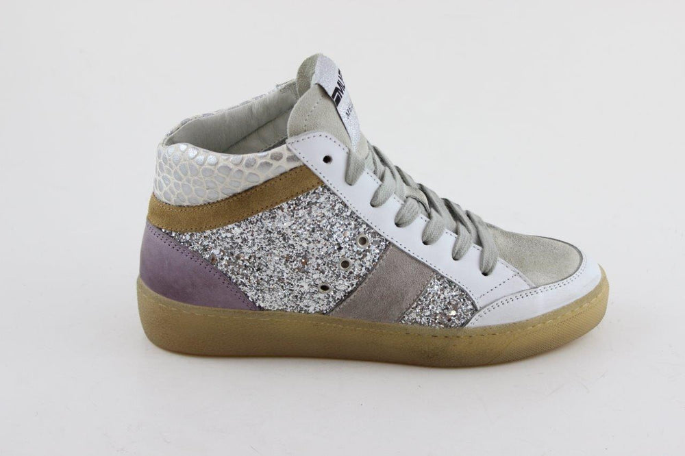 Glitter & Croc Mix High Top Trainer
