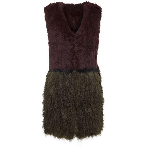 Donna Fur Vest: Green and Wine : M/L