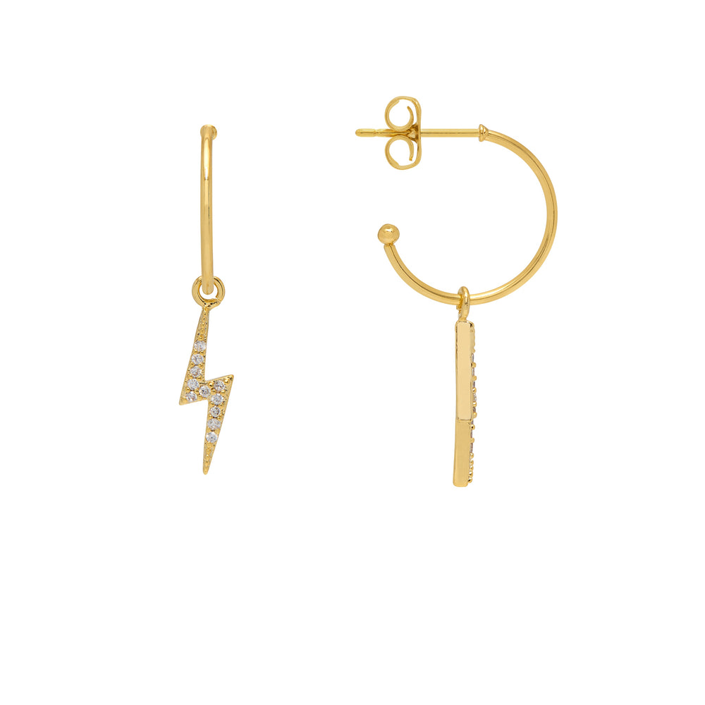 Lightning Drop Hoop Earrings Gold Plated