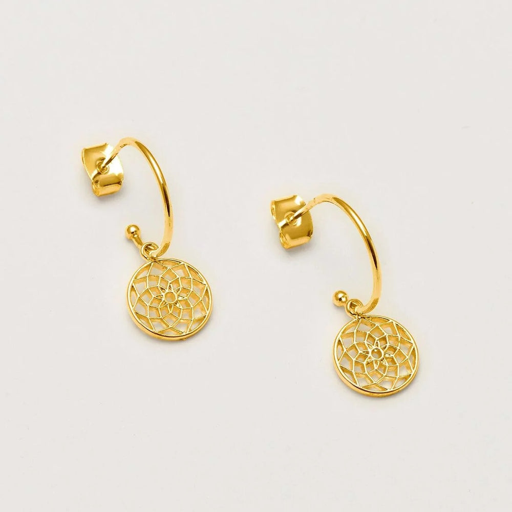 Dreamcatcher Drop Hoop Earrings - Gold Plated