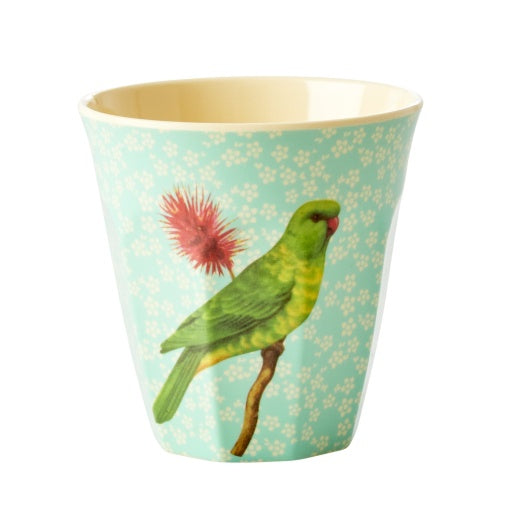 Melamine Cup with Vintage Bird Print - Green - Medium