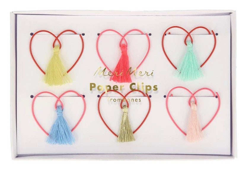 Heart Shaped Paper Clips with Tassels