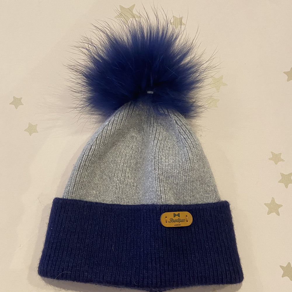 Winter Angora Hat Navy / Grey