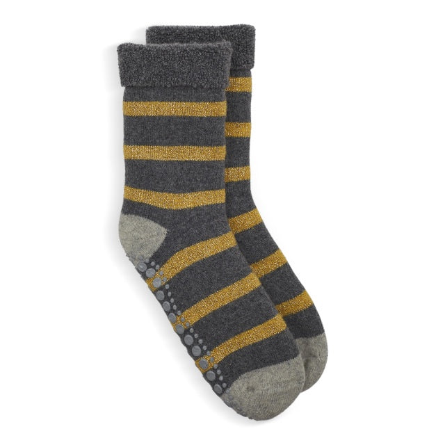 Glitter Stripe Slipper Socks - Gold/Grey