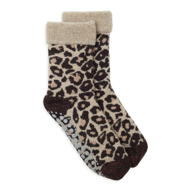 Leopard Slipper Socks - Camel/Black