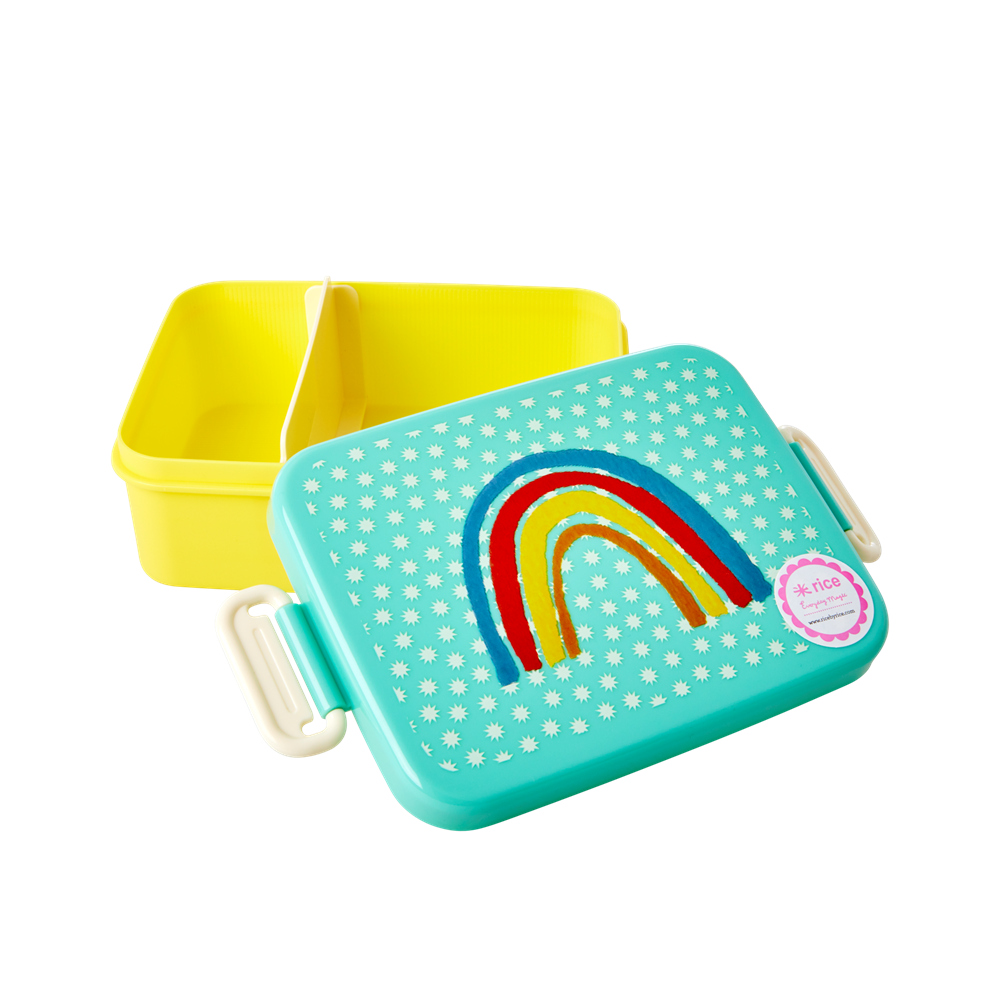 Lunch box with Divider - Rainbow and Stars Print - Large