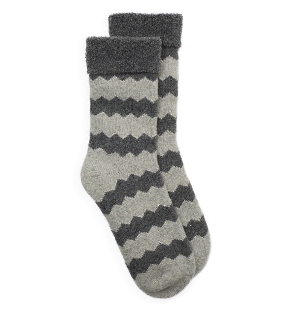 Zig Zag Stripe Glitter Slipper Socks