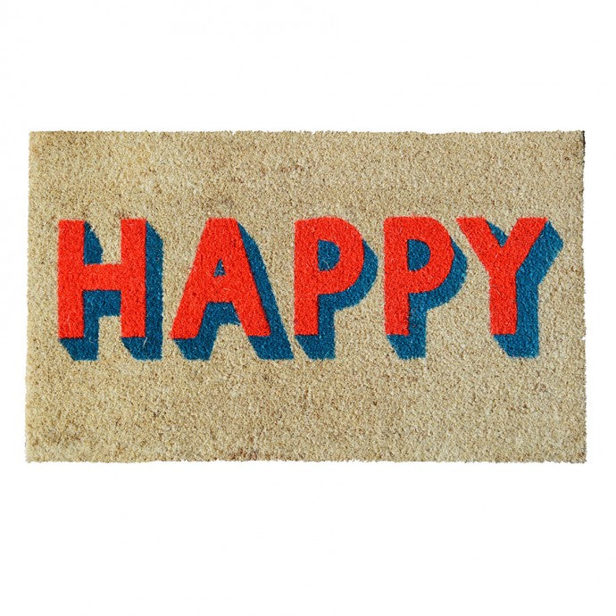 Happy Door Mat- Coral/Turquoise