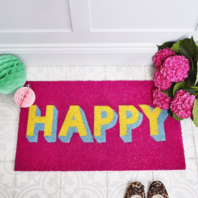 Happy Door Mat - Purple