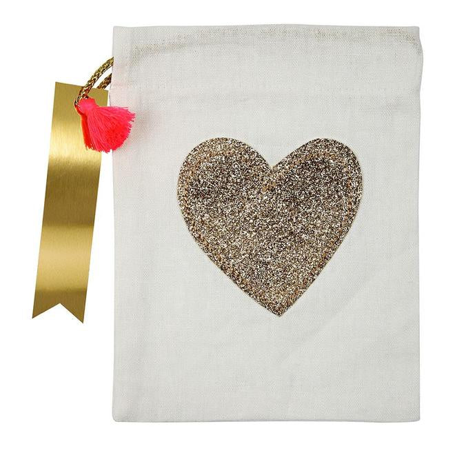 Individual Glitter Heart Party Bag