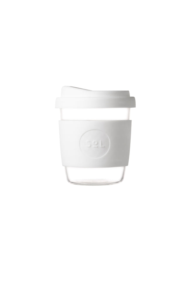 8oz Coffee Cup- White Wave