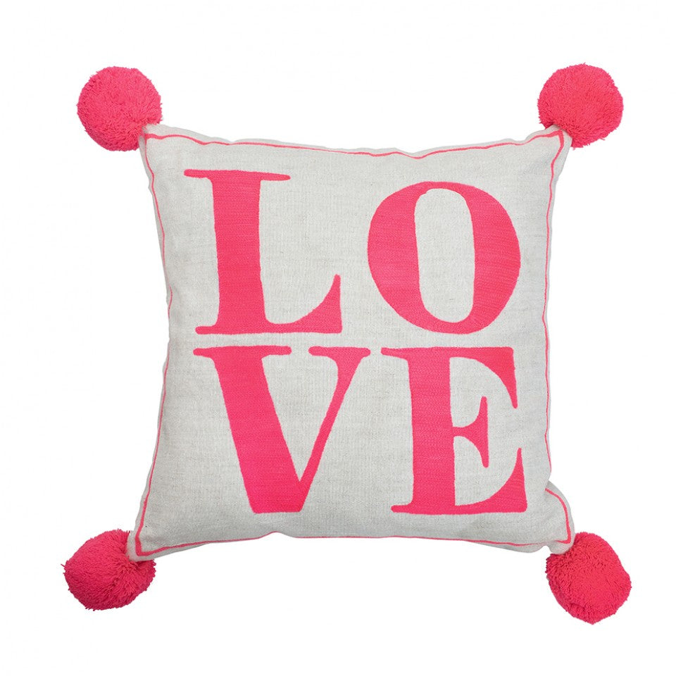 Love Square Cushion in Coral