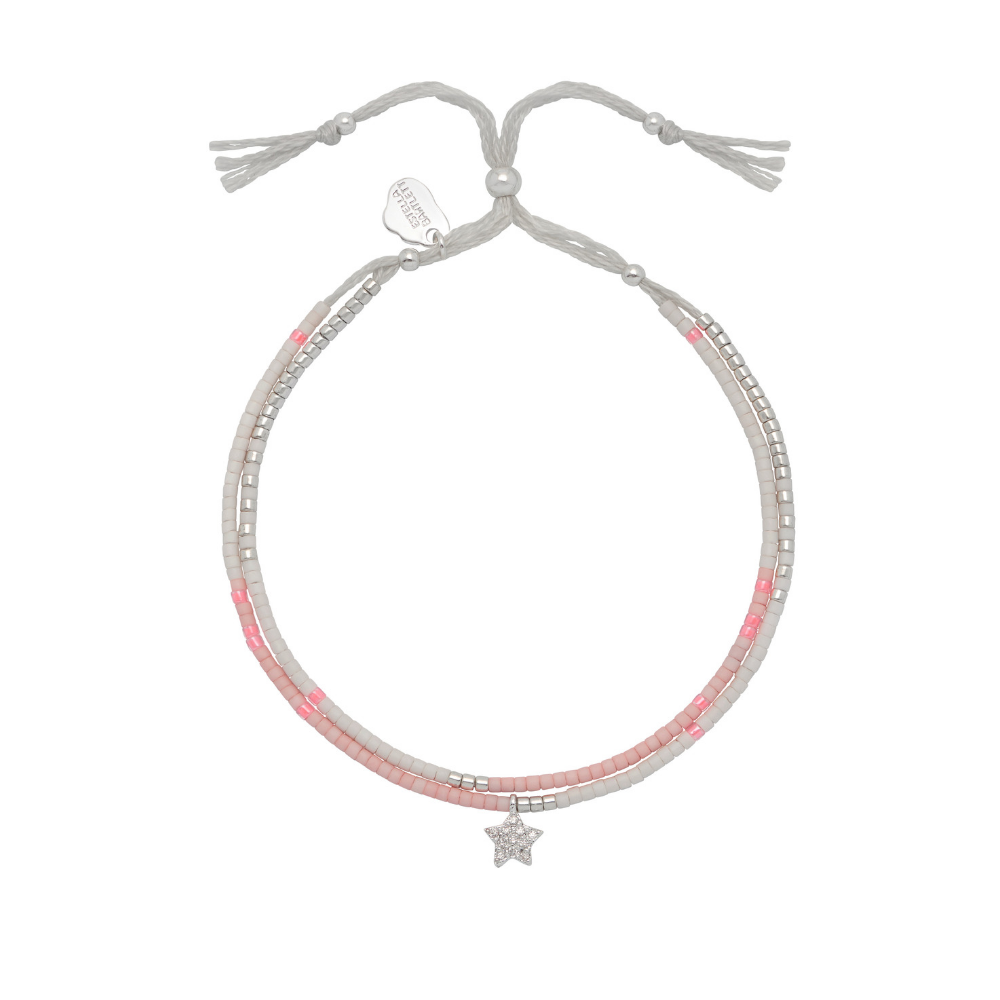 Phoebe Seed Bracelet Star - Pink and Silver