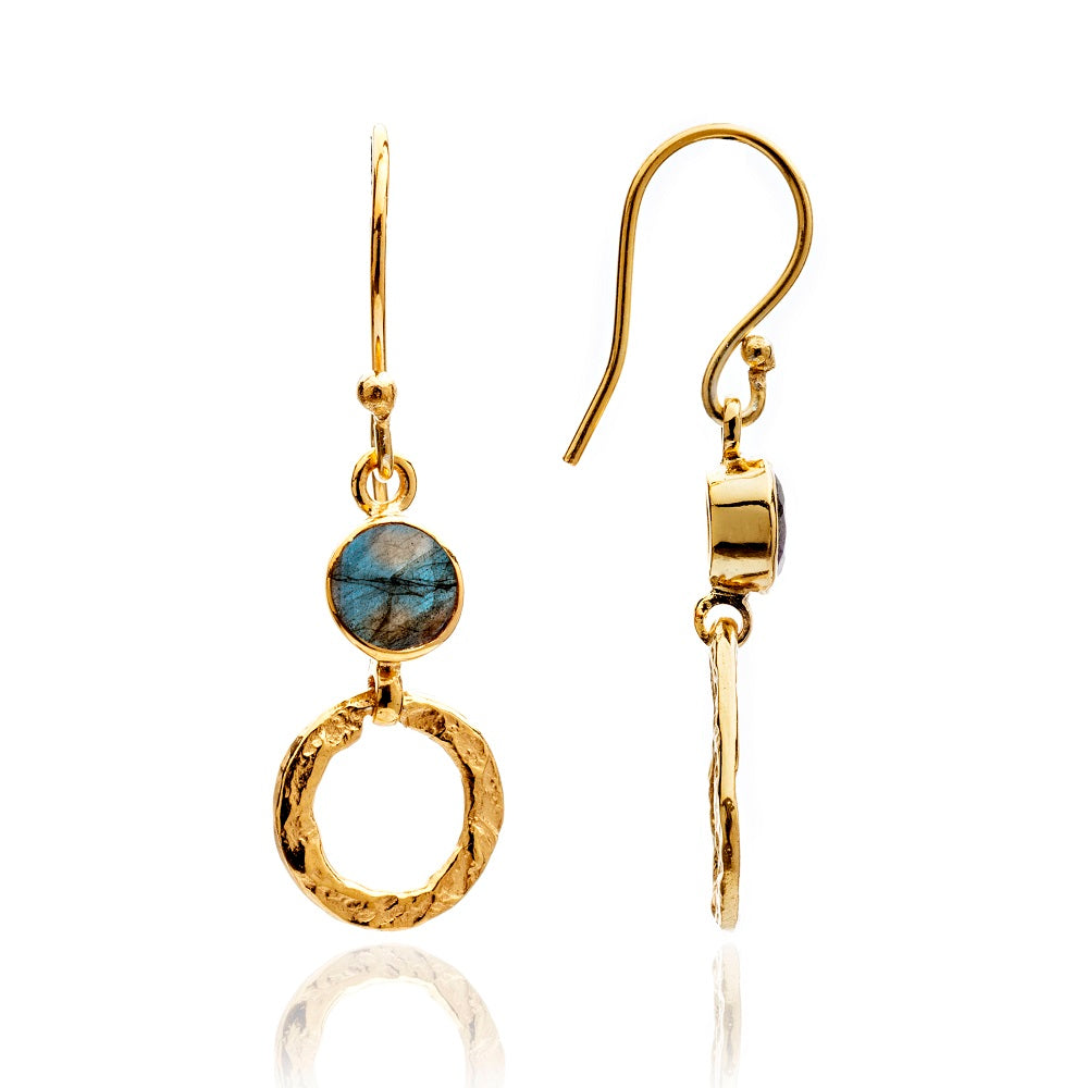 Small Gold Plated Hoop Earring - Labradorite