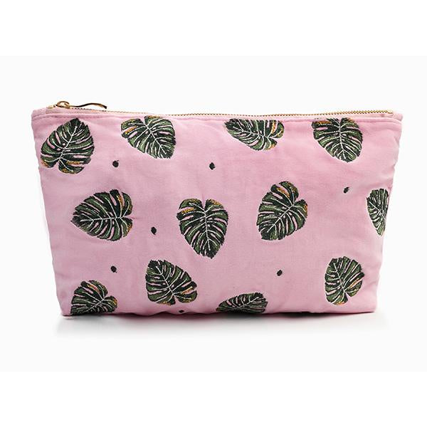Jungle Leaf Rose Shadow Velvet Travel Pouch