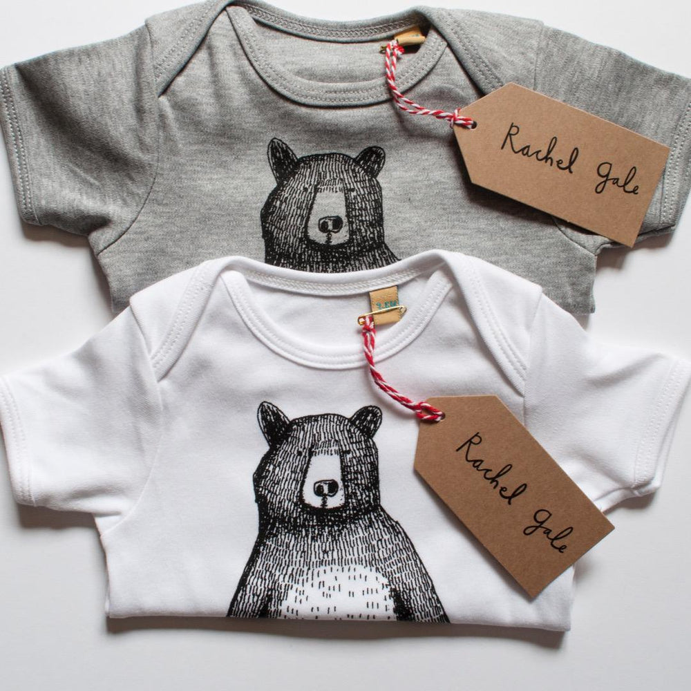 Mr. Bear Baby Vest- White