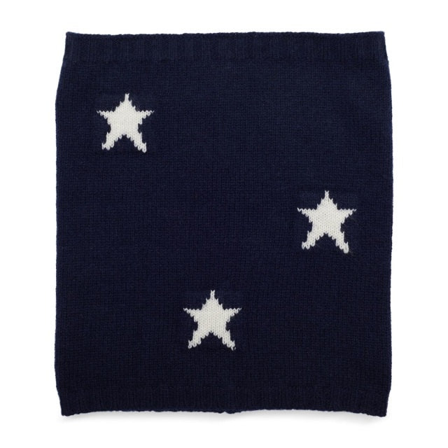 Star Cashmere Snood - Navy/Cream