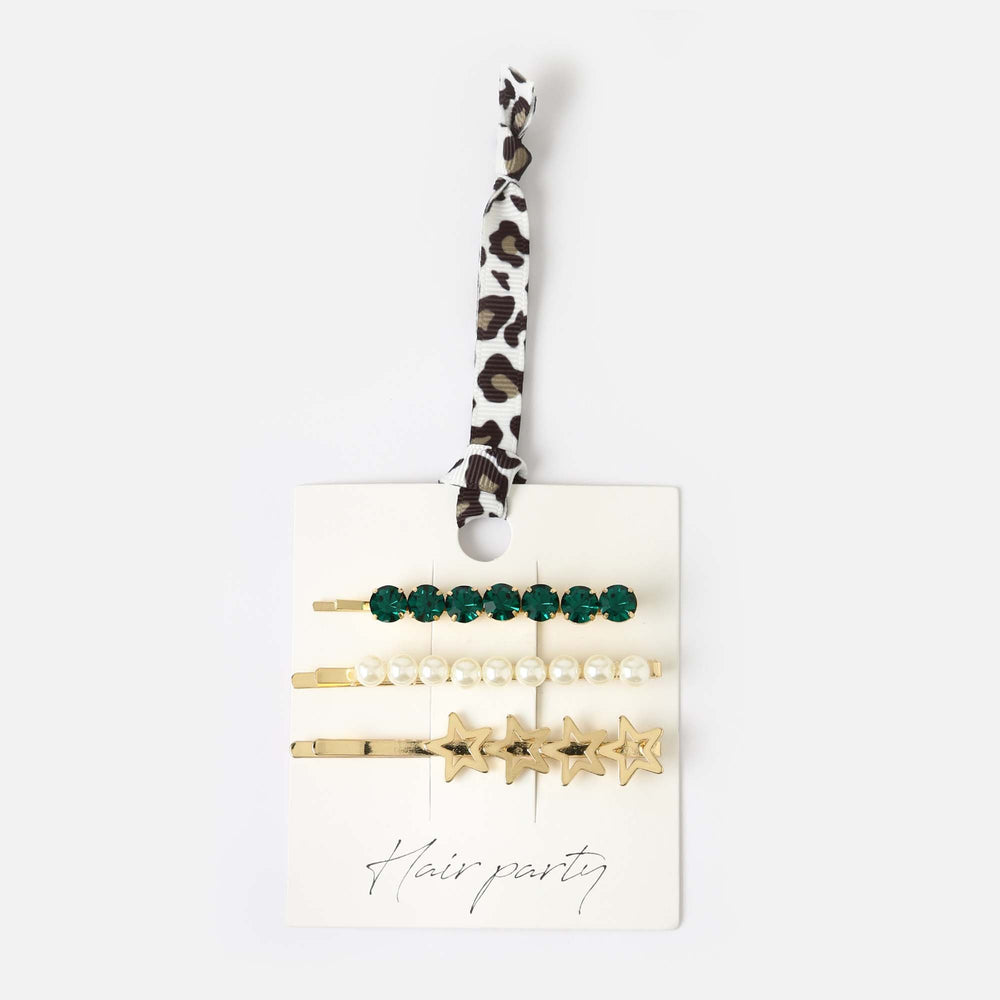 Emerald Pearl Star Hair Stack