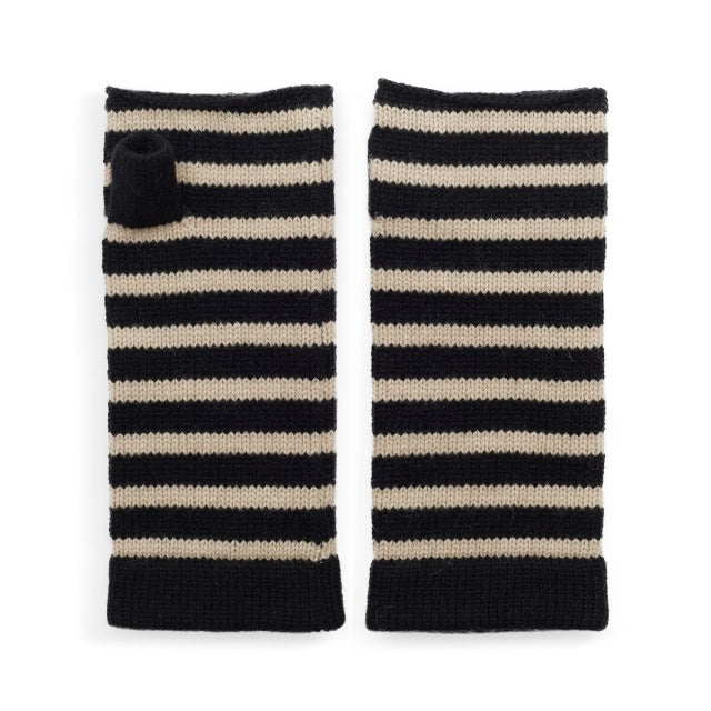 Cashmere Striped Wrist Warmer - Black/Camel