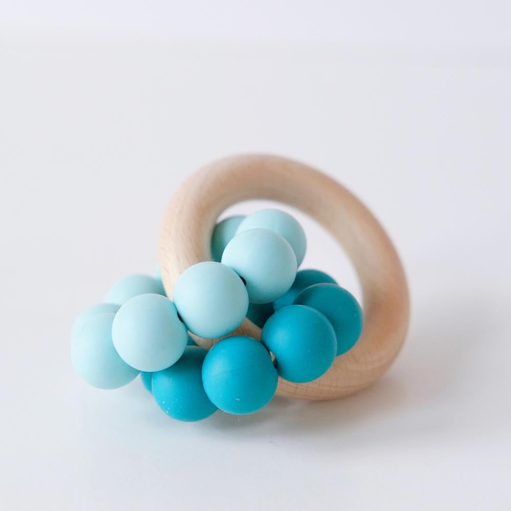 Teal Ombre Double Ring Silicone Teething Toy