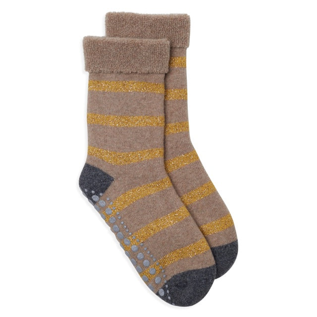 Glitter Stripe Slipper Socks - Camel/Gold