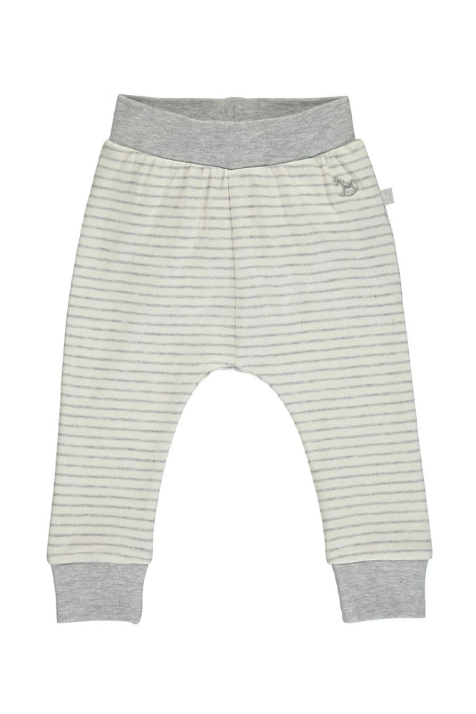 Comfy Stripey Print Pant- White & Grey