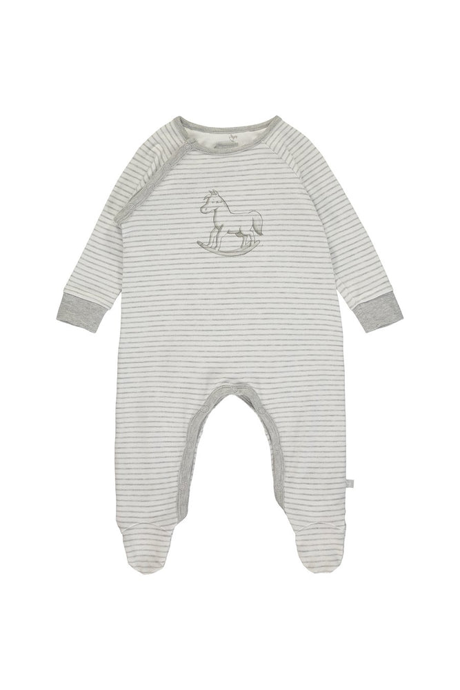 Super Soft Jersey Stripe Sleepsuit- Grey & White
