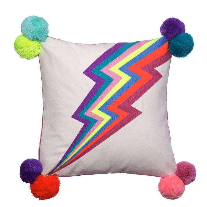 Lightning Bolt Square Cushion
