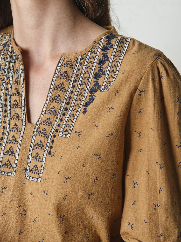 Mostaza Folk Embroidered Tunic