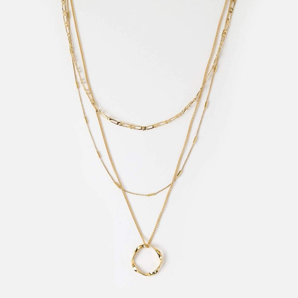 Open Circle Three Row Necklace