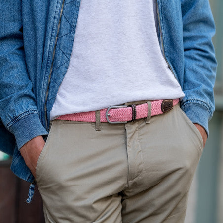 Men's Braid Belt: Pink