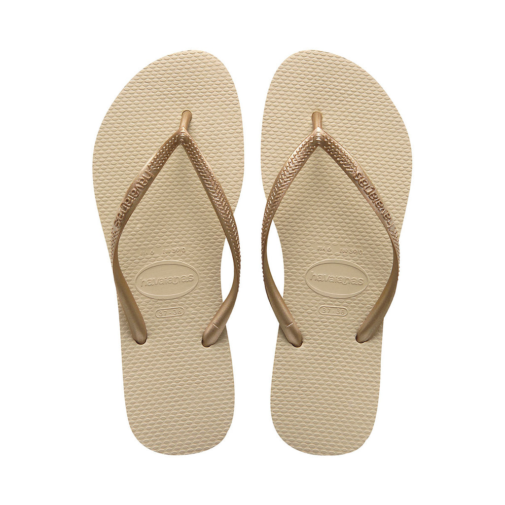 Kids Slim Flip Flops Sand Grey/Light Golden - Havaianas Canada