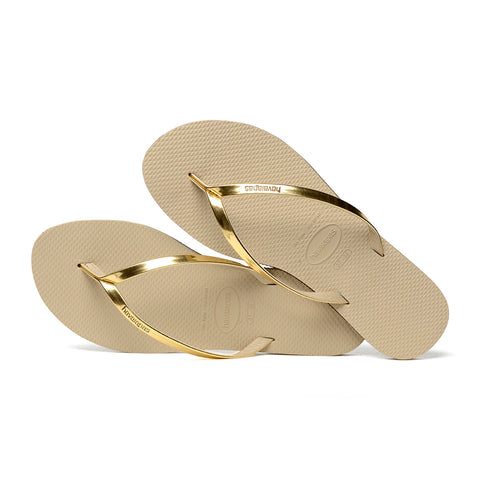 You Metallic Flip Flops Sand Grey/Light Golden - Havaianas Canada