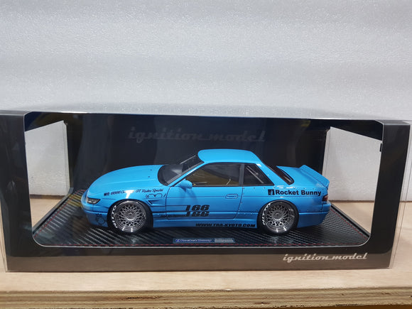 1:18 Ignition Model Rocket Bunny S13 V1 Blue - RB wheel