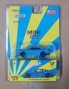 1:64 Mini GT LB Works Nissan GTR R35 Light Blue Type 1 Rear Wing Ver II LHD Mijo Exclusive