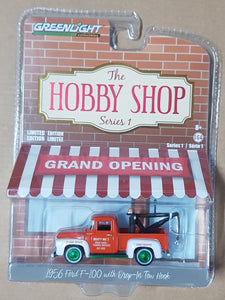 1:64 ☆Chase☆ Greenlight Hobby Shop Series 1 - Ford F100 w Drop in Tow Hook