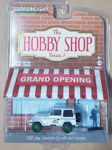 1:64 ☆Chase☆ Greenlight Hobby Shop Series 1 - Jeep Wrangler w Mail Carrier