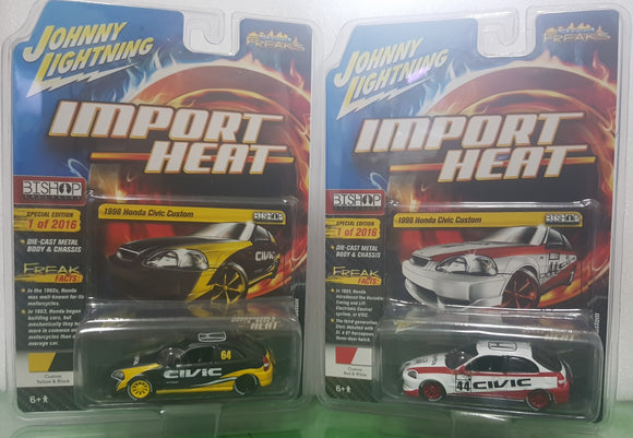 1:64 Johnny Lightning Honda Civic Custom - Pair