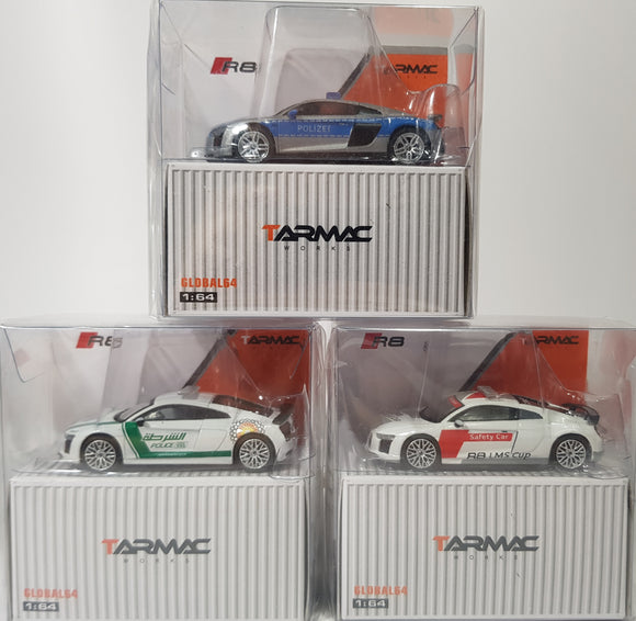 1:64 Tarmac Works Audi R8 V10 Plus - 3 x Police / Safety Car