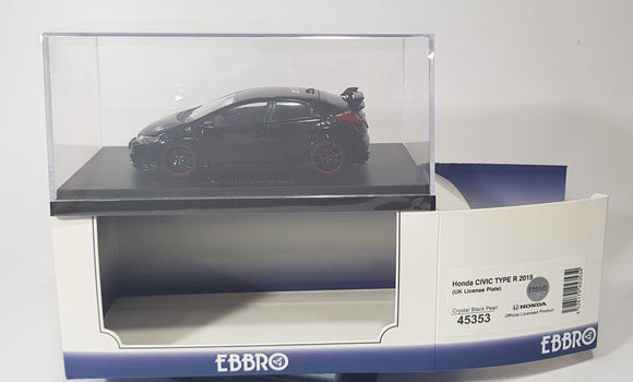1:43 Ebbro Honda Civic Type R 2015 (UK Licence Plate) - Crystal Black Pearl