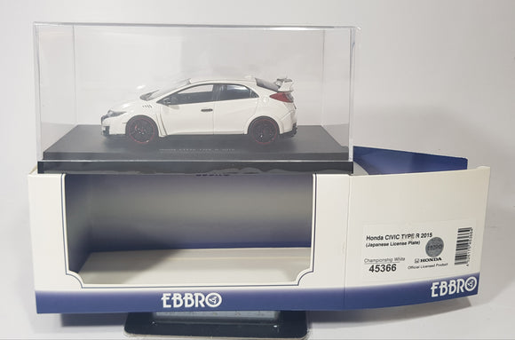 1:43 Ebbro Honda Civic Type R 2015 (Japanese License Plate) - Championship White