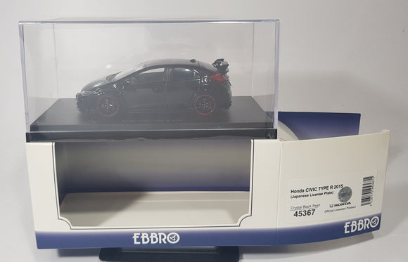 1:43 Ebbro Honda Civic Type R 2015 (Japanese License Plate) - Crystal Black Pearl