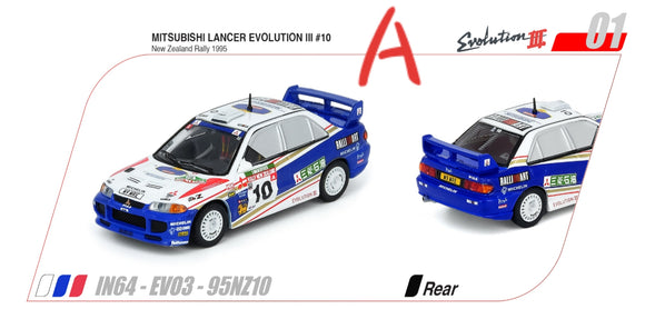 1:64 Inno64 Mitsubishi Lancer Evolution III #10 New Zealand Rally 1995