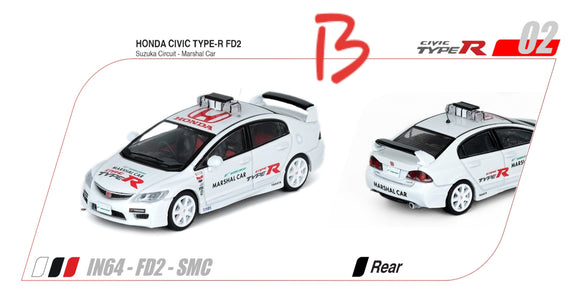 ☆Preorder☆ 1:64 Inno64 Honda Civic Type R FD2 Suzuka Circuit Marshal Car