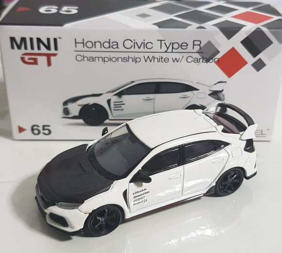 1:64 Mini GT Honda Civic Type R FK8 - Championship White w Carbon Kit & TE37 Wheel RHD