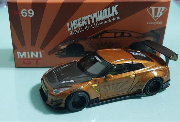 1:64 Mini GT LB Works Nissan GTR R35 Type 2 Rear Wing Ver 3 - Metallic Brown (Indonesia IDE2019 Exclusive)