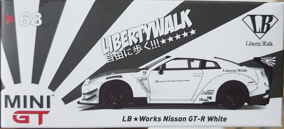 1:64 Mini GT LB Works Nissan GTR R35 Type 2 Rear Wing Ver.3 White