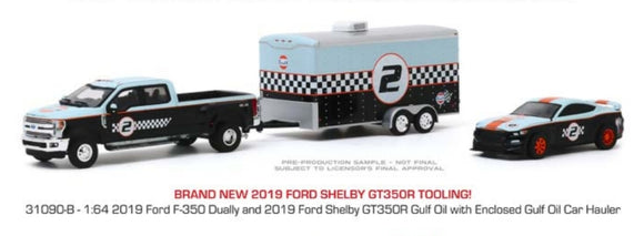 1:64 Greenlight Ford F350 Dually & Ford Shelby GT350R Gulf Oil w enclosed Car Hauler